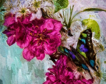 Floral Flower Canvas Painting,Flower Arrangement,Butterfly Painting,Hand Painted Canvas