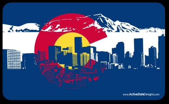 Colorado Flag Denver Skyline Sticker
