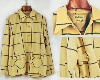 1950's Timberline Plaid Wool Jacket // Made in Canada // Long Sleeve Wool Hunting Shirt Grunge Vintage Mens // Large