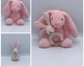 Cuddly rabbit fluffy Knuddels and bite ring, cute babyset handmade!