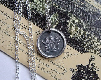 Crown Wax seal necklace, Wax seal pendant, For her, Mens necklace, Celtic jewellery, Medieval crown, Mens pendant, Fine + Sterling silver