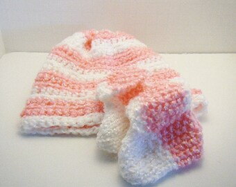 Baby Hat and Booties - Knitted Baby Booties - Crocheted Hat - Baby Shoes - Pink and White
