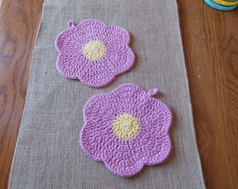 Handmade crocheted cotton wash cloth, face cloth, dish cloth