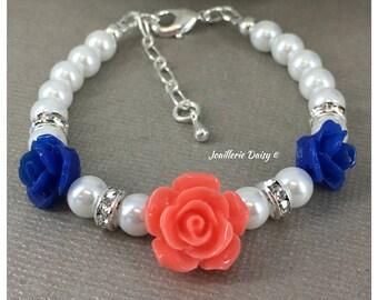 Flower Girl Gift for Flower Girl Bracelet Navy and Coral Flower Girl Jewelry Pearl Bracelet Jewelry Charm Bracelet Wedding Jewelry