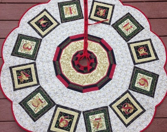 Twelve days of Christmas quilted tree skirt, handmade