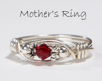 1 Birthstone Mother's Ring: Personalized Sterling Silver Mom's Family Ring. One solitaire Swarovski Stone Crystal-Mother's Day, Christmas