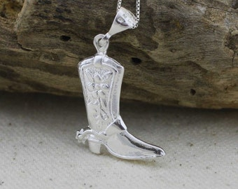 Sterling Silver Boot Necklace, Cowboy boot necklace, Cowgirl boot necklace, Western jewelry, Silver boot charm necklace, Large Boot Charm