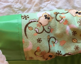 Green and Brown Owls Stroller Quilt