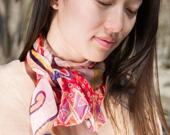 Colorful Scarf // Skinny Scarf // Spring Scarf // Lightweight Scarf // Red Scarf // Floral Scarf // Reversible Scarf // Gift // Summer Scarf