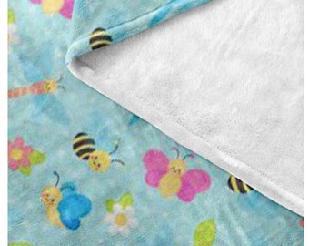 Garden Bugs Fleece Blanket - Style  6 - Cute Bees, Butterflies and Dragonflies - Great gift idea bundle with matching products Think Spring