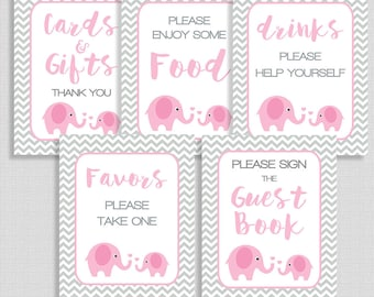 Pink Elephant Shower Signs Package, Pink & Grey Chevron Baby Shower Table Signs, 5 Sign Bundle, INSTANT PRINTABLE