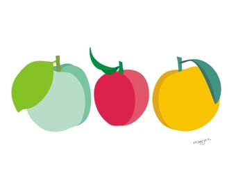 Fruit Decor, Peach art, Peach print, Kitchen Art Decor, Art For Kitchen, Kitchen Art Work, Modern Kitchen Art, Retro Kitchen Art, Fruit Art