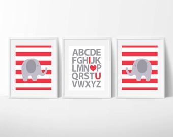 Elephant Nursery Art Print, Alphabet and Elephant in Red and Grey Art Prints, Baby Boy Nursery Wall Print, Bedroom Decor -H745