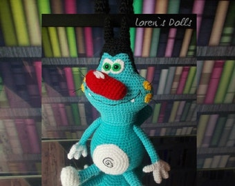 Oggy from Oggy and the Cockroaches (originally Oggy et les Cafards)  Oggy Crochet Blue Cat Crochet toy Amigurumi Cat The Movie toy Plush cat