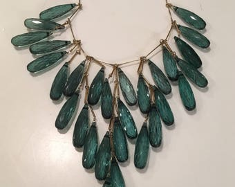 Bib Necklace Featuring Emerald Colored Gem Drops