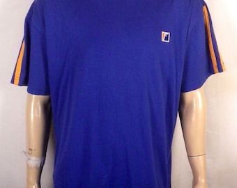 vtg 80s 90s Franklin blue/orange Striped Sleeve T-Shirt F logo SZ XL