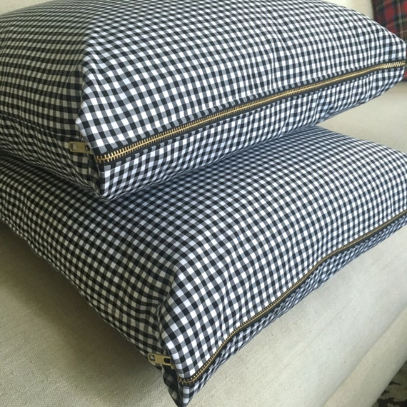 Gingham Pillow Cover, Black & White Gingham, Pillow Cover, Gingham Check Pillow, Plaid Pillow, Check Pillow Cover