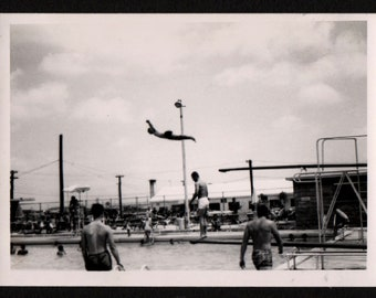 Vintage Photo Man Caught Mid Air Dive Off of Diving Board 1950's, Original Found Photo, Vernacular Photography