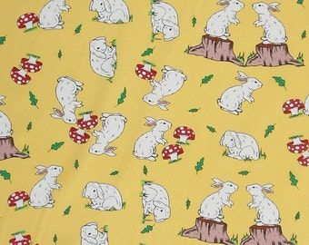 Easter Fabric, Rabbits on Yellow Cotton Fabric, Kid's Yellow Bunny Rabbit Patterned Pure Cotton Fabric