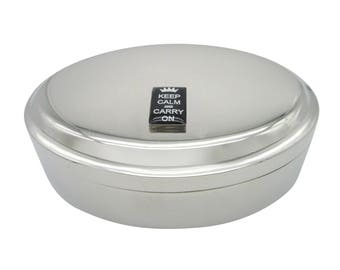Keep Calm and Carry On Pendant Oval Trinket Jewelry Box