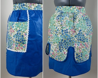 Vintage Reversible Half Apron - Blue Floral and Polished Cotton - Deadstock Original Tags
