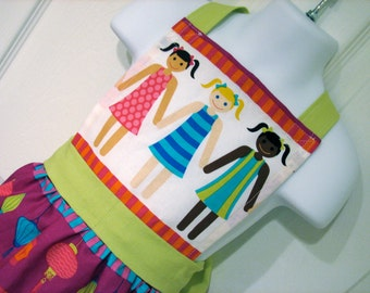 Girls Full Apron with Large, Lime Back Bow