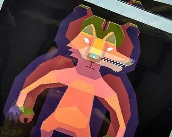 Art Print, Pixel Art, Fine Art Print, Shapeshifter, Bear, Fox