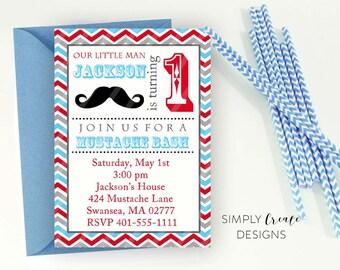 Mustache invite Etsy