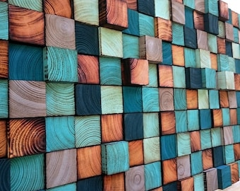 Abstract Painting on Wood - Reclaimed Wood Art Sculpture - Wood Wall Art