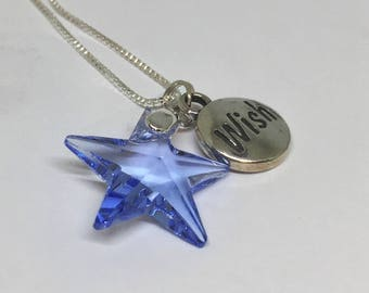 Star necklace,Mothers Day gift, blue crystal necklace, something blue, wish upon a star, girlfriend gift, wife gift, bridesmaid gift, gift