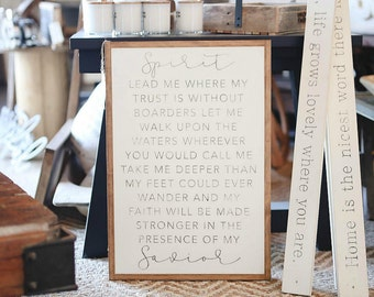 "20""X30"" Spirit Lead Me Where My Trust Is Without Borders Framed Wood Sign"