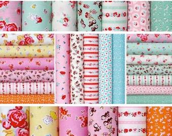 Cotton Fabric bundle, 18 Fat quarters, Vintage retro - Milk Sugar Flower by Elea Lutz for Penny Rose Riley Blake