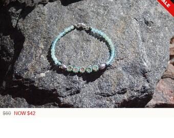 """Sale -  Czech Glass and Aquamarine Friendship Bracelet - Gemstone Bracelet - """"Pookie"""""""