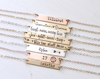 Monogram or Name Necklace - Hand Stamped Personalized Gold, Silver, Rose Bar Necklace. Customize Your Necklace with Personalized Name, Date