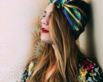 Metallic Mardi Gras Color Stripe Headwrap