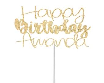 Happy Birthday Cake Topper, Custom Birthday Cake Topper, Personalized Cake Topper, 1st Birthday Cake Topper, Happy 21st Birthday Topper