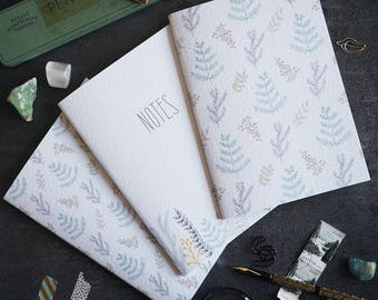 Sprigs {Trio of Notebooks} | botanical | leaves | from a hand drawn design | jotter | journal