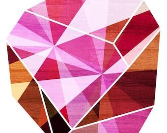 Amethyst Pink Geometric Art Print (Fuchsia Facet Stone, Prism Rock Illustration), 5x7, 8x10, 11x14