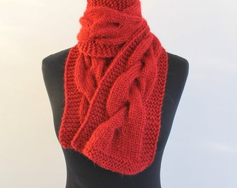 Hand knit chunky big cable scarf dark red