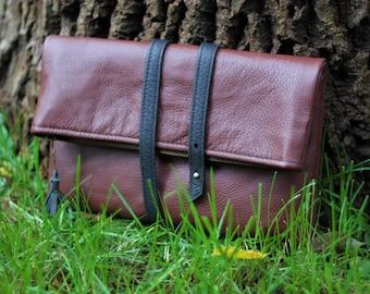 Brown Leather Clutch, Simple Clutch Purse, Foldover Clutch, Leather Boho Clutch, Leather Clutch, Simple Clutch Bag, Casual Clutch Bag