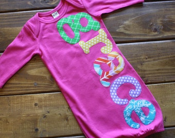 Personalized Newborn Gown Girl, Hospital Going Home Outfit, Baby Girl Gift, Summer Brights, Baby Shower Gift, Newborn Outfit, Baby Girl Gown
