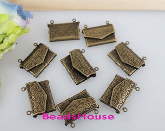 20% off:LK-100An -4pcs Antique Brass Envelope Locket Pendant /Charm-Nickel Free