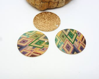 2 round charms 20mm glitter printed geometric Argyle green/purple gold (8SBDP06)