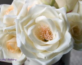 apricot centre cold porcelain roses bouquet