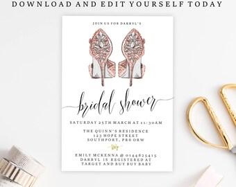 Editable bridal Shower Invitation, Bridal Shower Template, Printable, Rose Gold, Shoe, Fashion. Digital Download, edit yourself invite
