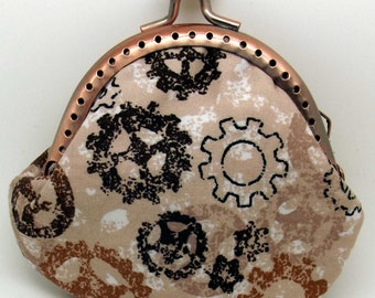 Rose Gold Coloured Steampunk Cog and Gear  Coin Purse