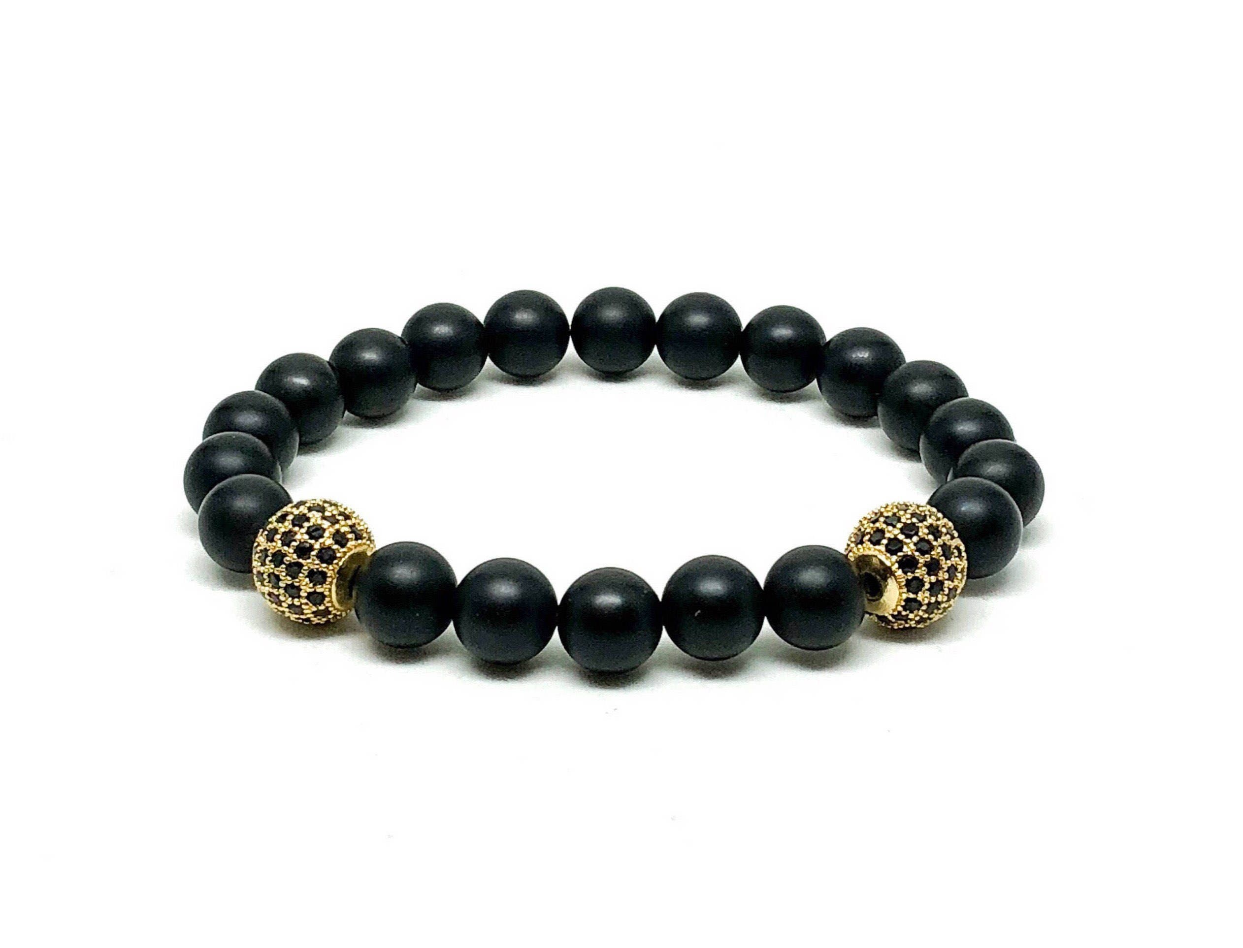 stone natural agate maojunlei beads mala from black gold fashion product india buddha bracelet bracelets round yoga onyx matte