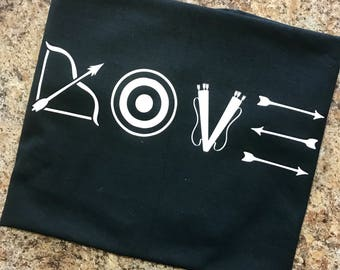 Archery LOVE Shirt - Any Style Shirt -  Tank Top, T-Shirt, Womans or Mans Fit -ANY COLORS!