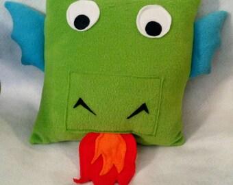 Unique Handmade 12x12 Green Fleece Dragon Throw Pillow / Accent Pillow for Kid / Child / Girl / Boy