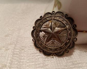 Antique Sterling Silver Jerusalem Star brooch